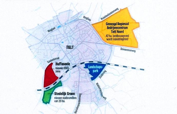afbakening kleinstedelijk gebied Tielt